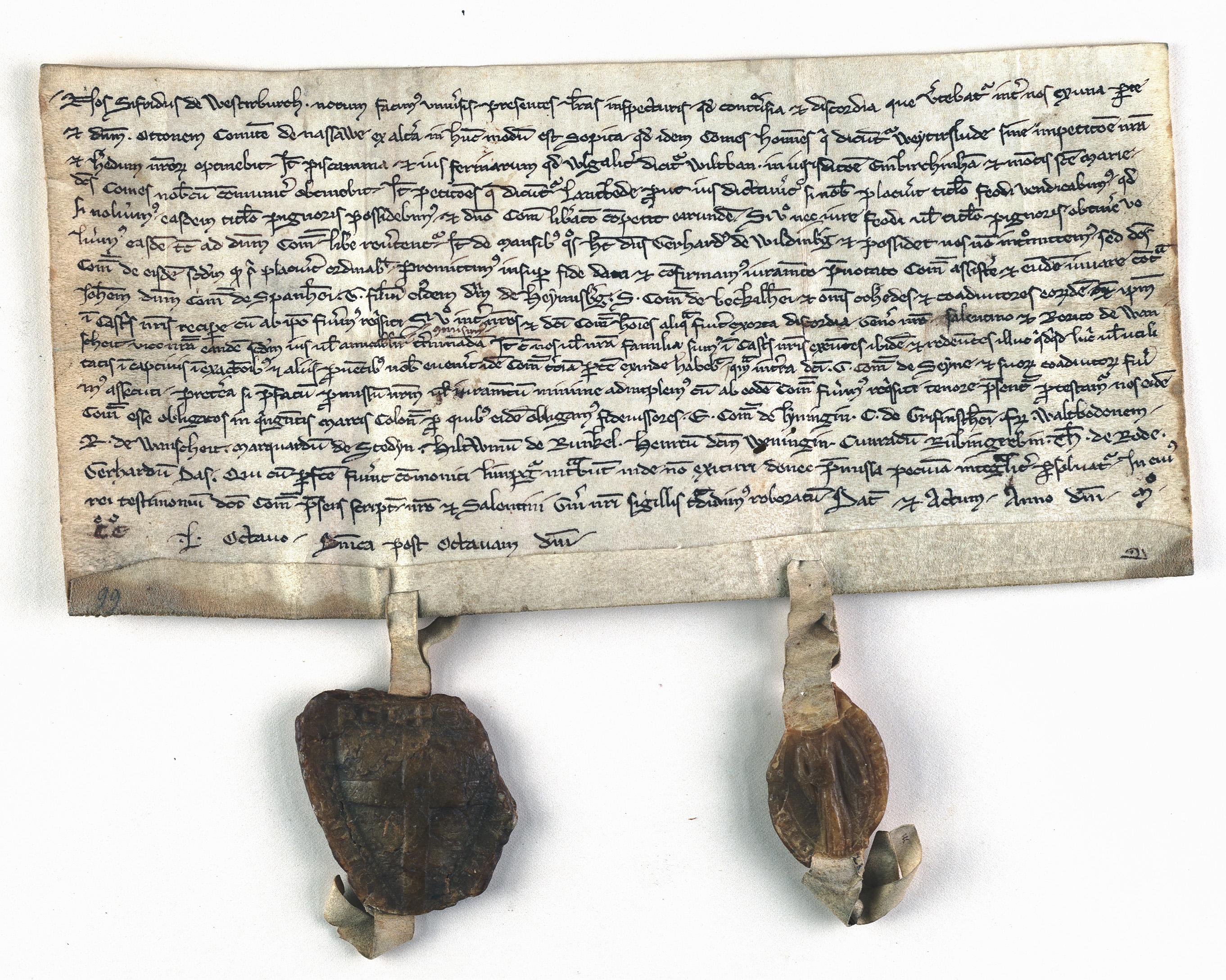 Urkunde zur Ersterwähnung Steeden 1258